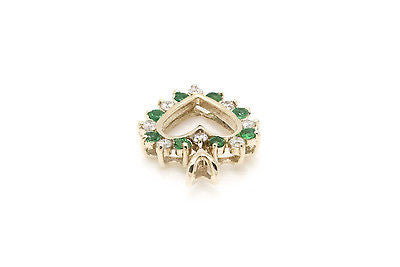 14k Yellow Gold Heart Pendant with Diamonds & Emeralds - .35 ct. total