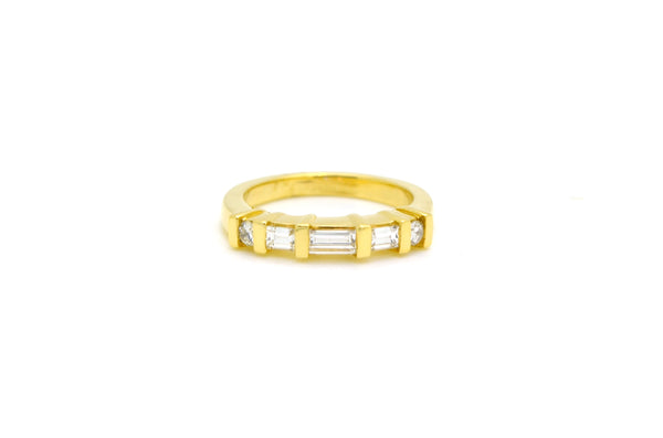 14k Yellow Gold Round & Baguette Diamond Band Ring - .75 ct. total - Size 6