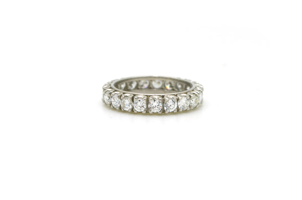 Platinum Round Diamond Prong-set Eternity Band Ring - 2.25 ct. total - Size 6.75