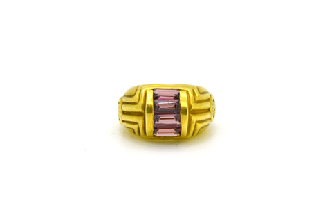 18k Yellow Gold Pink Tourmaline Satin Cocktail Ring - 1.40 ct. total - Size 6.5