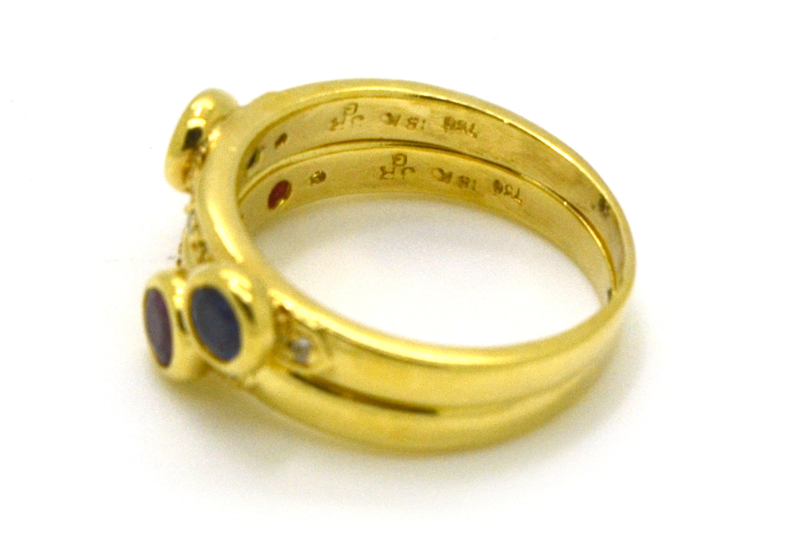 Vintage 18k Yellow Gold Ruby Sapphire & Diamond Set of Stackable Rings - Size 7