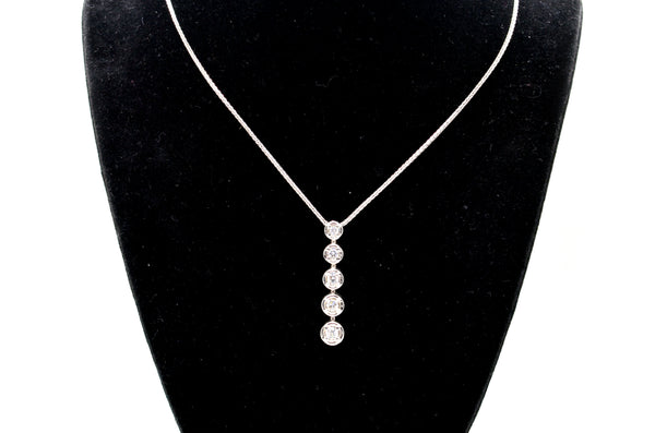 14k White Gold Five Round Diamond Journey Necklace - .50 ct. total - 18 in.