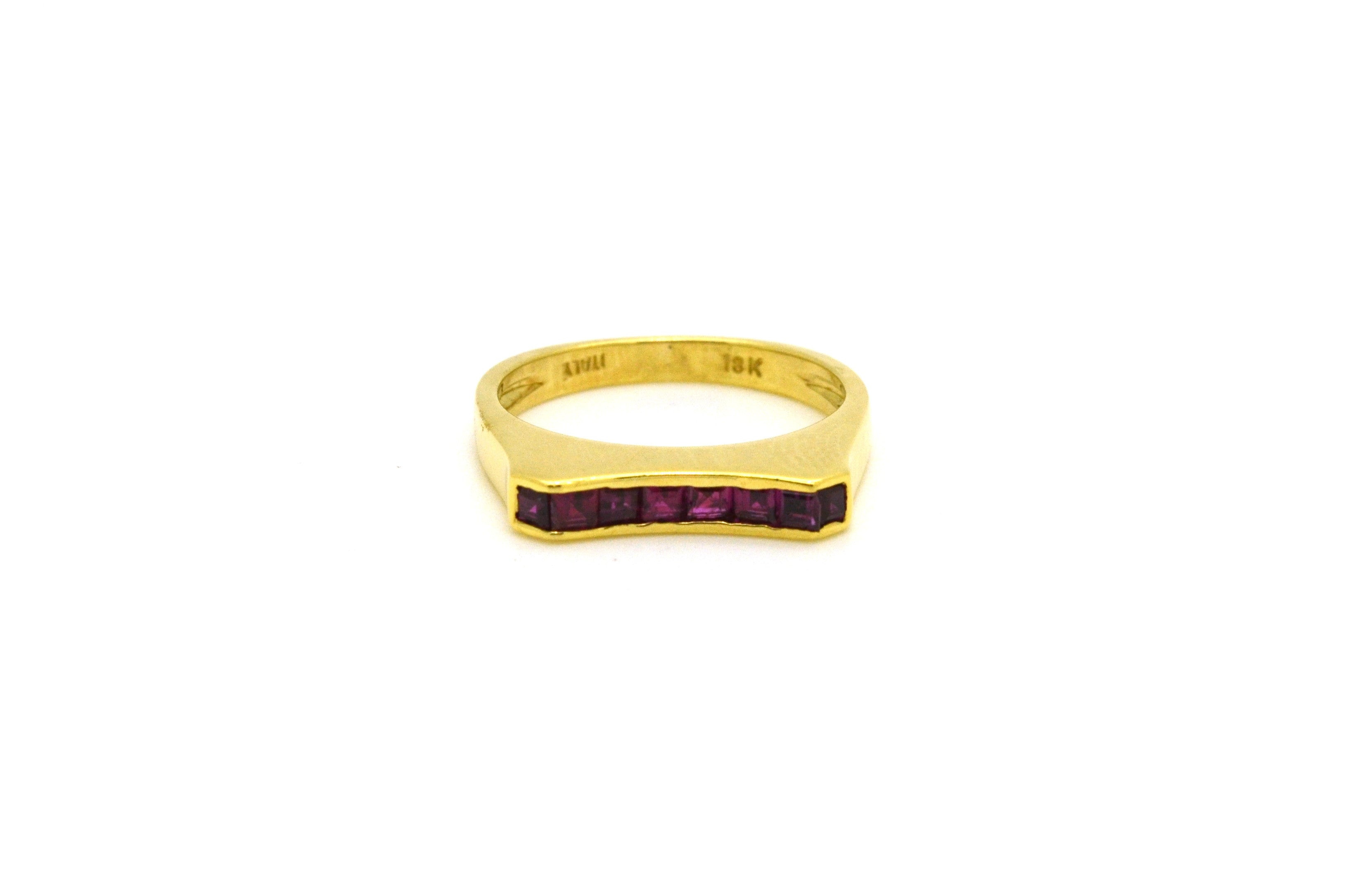 18k Yellow Gold Square Channel Set Red Ruby Band Ring - .40 ct. total - Size 6