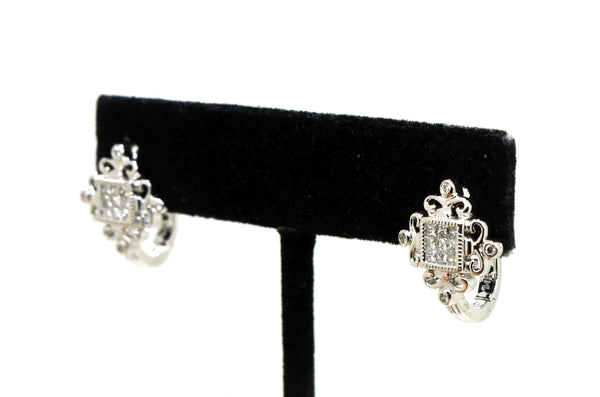 14k White Gold Invisible-Set Diamond Cluster Huggie Earrings - .45 ct. total