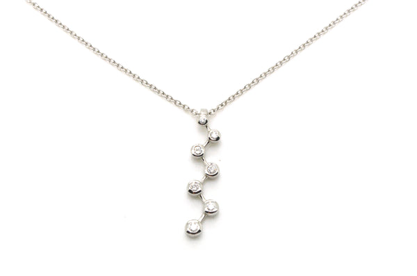 14k White Gold Seven Round Diamond Journey Necklace - .35 ct. total - 18 in.