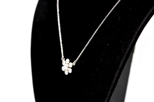 14k White Gold Round Diamond Flower Cluster Necklace - .55 ct. total - 16 in.