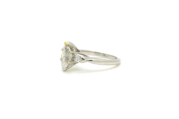 Platinum Marquise Diamond Engagement Ring - 1.76 ct total - F / SI2 GIA - Size 5