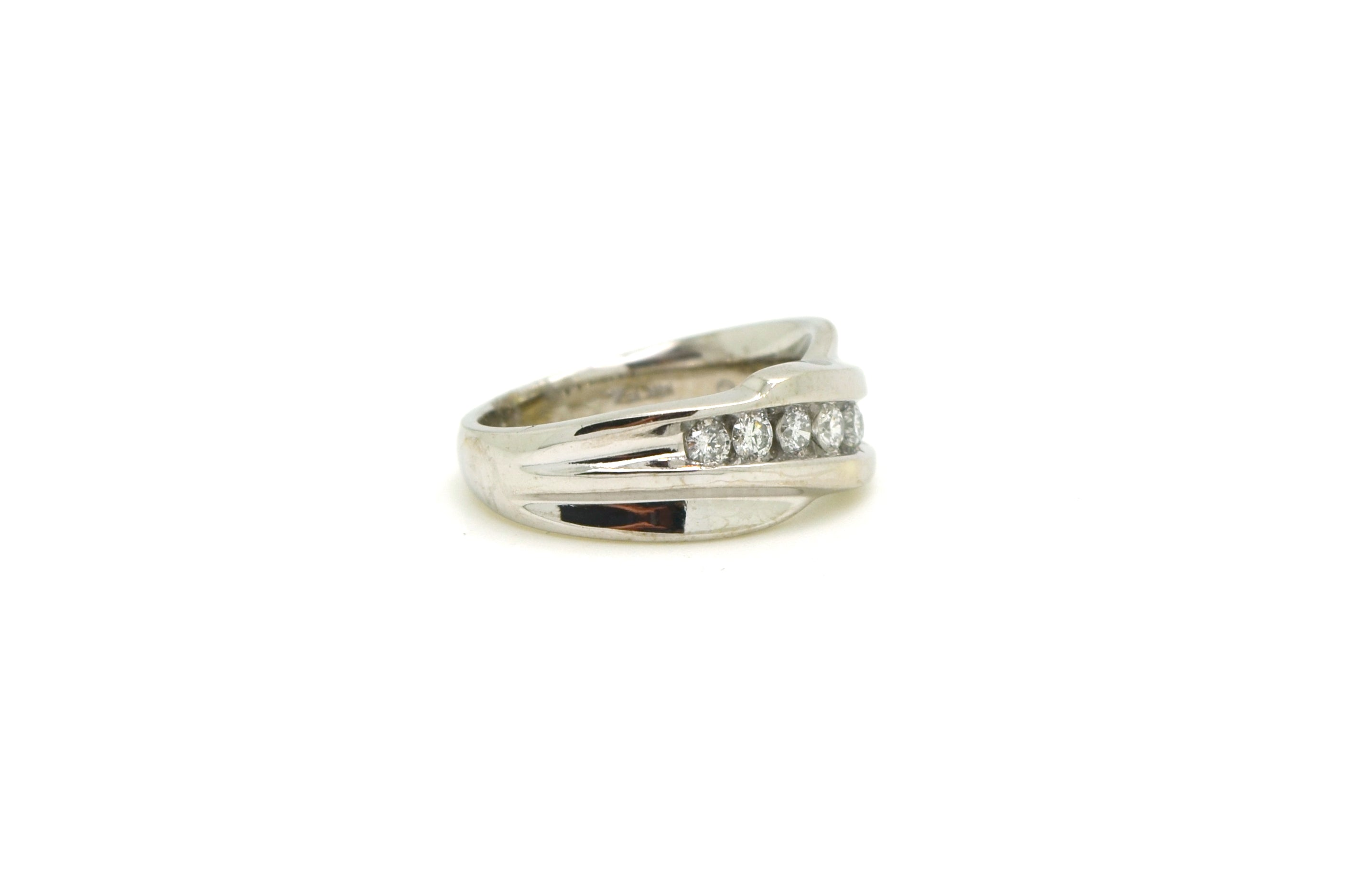 14k White Gold Round Seven Stone Diamond Band Ring - 1.00 ct. total - Size 7.5