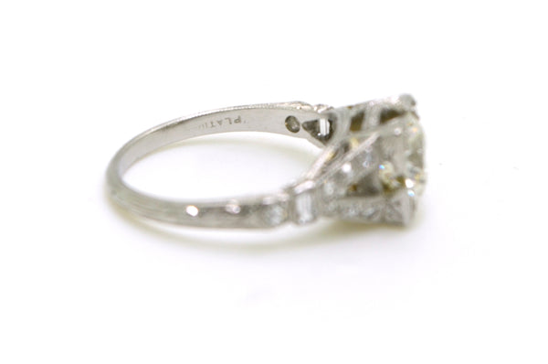 Vintage Platinum Old Euro Diamond Engagement Ring - 1.15 ct. total - Size 4.25