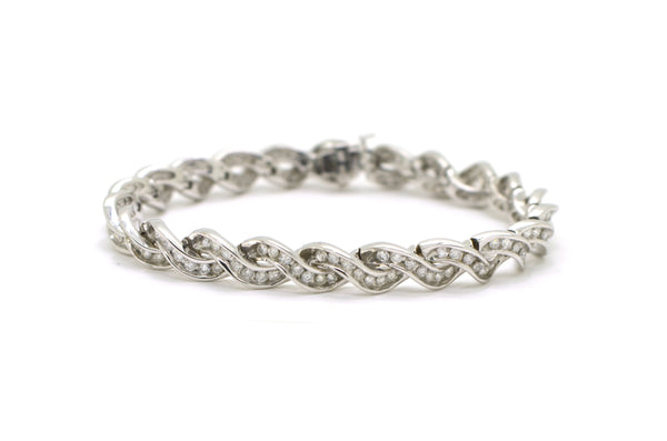 14k White Gold Round Diamond Link Tennis Bracelet - 3.00 ct. total - 6.75 in.
