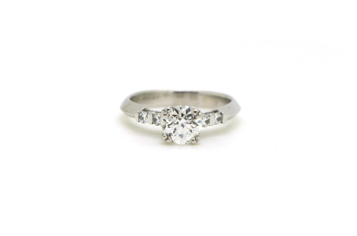 Vintage Platinum Old European Diamond Engagement Ring - .92 ct. total - Size 6