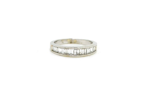 14k White Gold Channel Baguette Diamond Band Ring - 1.00 ct. total - Size 6.5