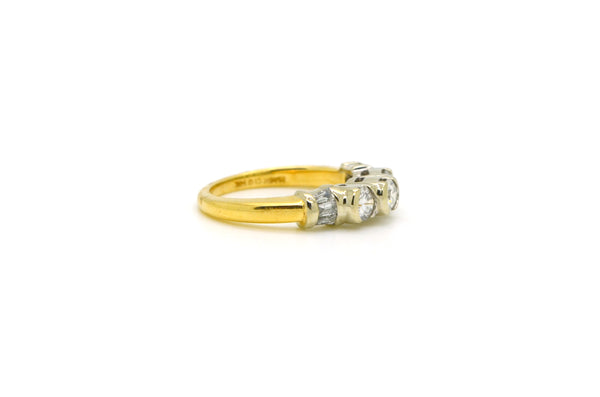 14k Yellow & White Gold Round Diamond 3-stone Ring - 1.00 ct. total - Size 6.5