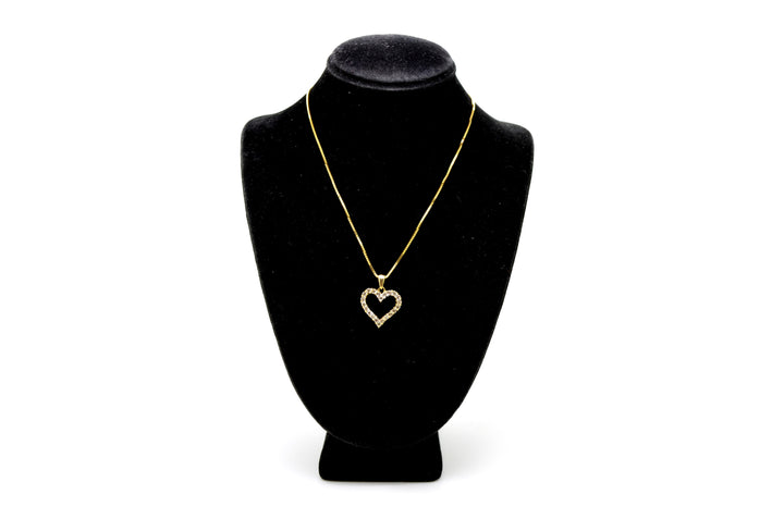 10k Yellow Gold Diamond Heart Shaped Pendant Necklace - .50 ct. total - 16 in.