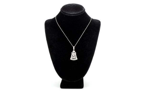 14k White Gold Bell Shaped Diamond Pendant Necklace - .45 ct. total - 18 in.
