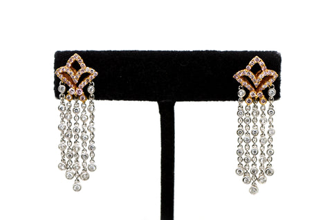 18k White & Rose Gold Dangle Chandelier Earrings with Diamonds - 1.00 ct. total