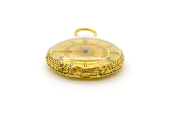 Vintage 18k Yellow Gold Klaftenberger Geneve Key Wound Golden Dial Pocket Watch