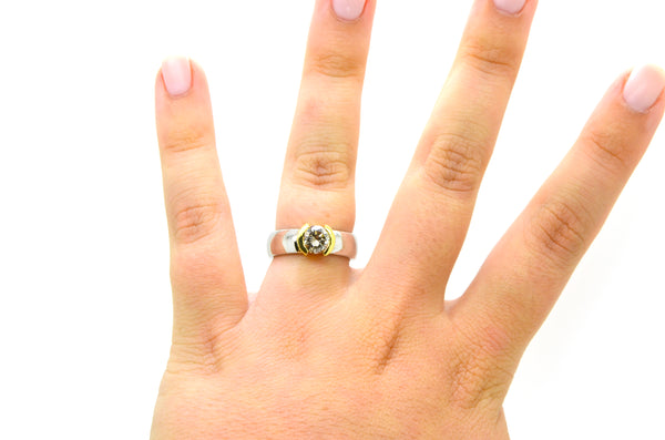 18k Yellow White Gold Round Diamond Solitaire Engagement Ring - 1.04 ct - Size 7