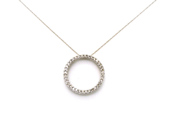 10k White Gold Diamond Circle Pendant Necklace - 1.10 ct. total - 18 in.