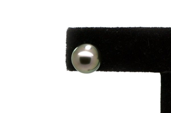 14k Yellow Gold Traditional Tahitian Black 9.7mm Pearl Stud Earrings -Screw Back
