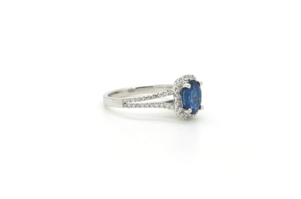 18k White Gold Oval Blue Sapphire Diamond Engagement Ring - 1.95 cttw - Size 6.5