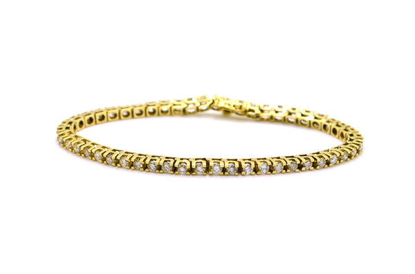 14k Yellow Gold Round Diamond Link Tennis Bracelet - 4.00 ct. total - 7.5 in.