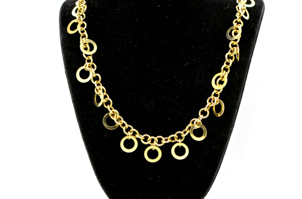 14k Yellow Gold Polished Round Link Loop Chain Charm Necklace - 16.75 in.