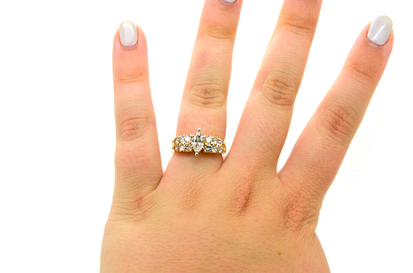 14k Yellow Gold Marquise Diamond Engagement Ring - 1.25 ct. total - Size 6.5