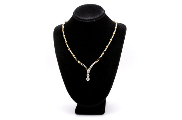 14k Yellow & White Gold Diamond Statement Necklace - 17 in. - 1.00 ct. total