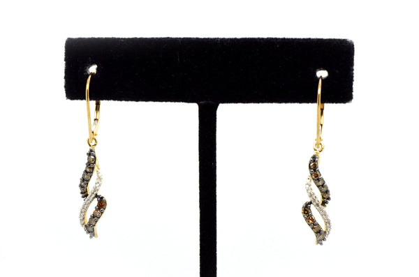 10k Yellow Gold White & Brown Diamond Dangle Earrings - 38 mm Drop - .60 ct. tw