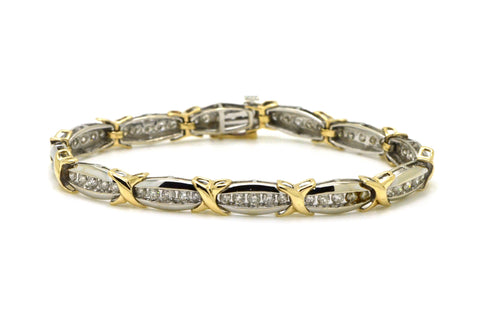 14k White & Yellow Gold Round Diamond X Bracelet - 2.50 ct. total - 7.25 in.