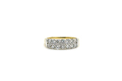 Vintage 14k Yellow White Gold DoubleRow Diamond Band Ring - 1.00 ct. tw - Size 6