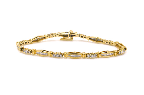 14k Yellow Gold Round & Baguette Diamond Bracelet - 1.75 ct. total - 7 in.