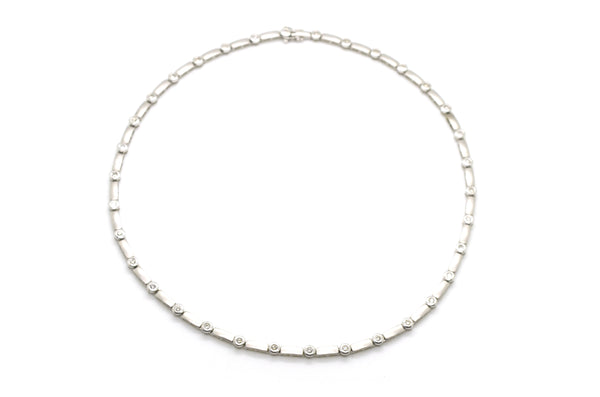 14k White Gold Satin & Polished Diamond Riviera Necklace - 1.75 ct tw - 15.5 in.