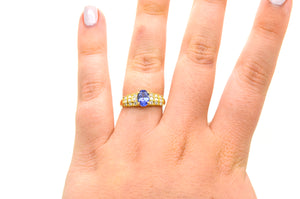 14k Yellow Gold Oval Shaped Tanzanite & Diamond Ring - 1.05 ct. tw - Size 7.25