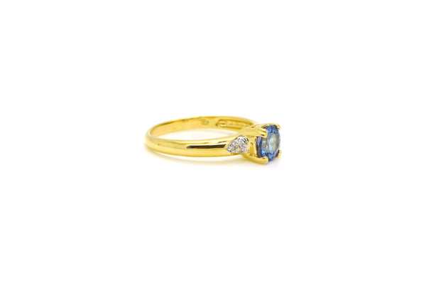14k Yellow Gold Round Tanzanite & Diamond Ring - 1.03 ct. total - Size 6.75