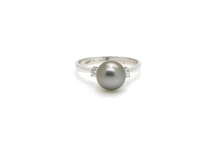 14k White Gold Diamond & 8.5 mm Black Pearl Cocktail Ring - .15 ct. tw - Size 7