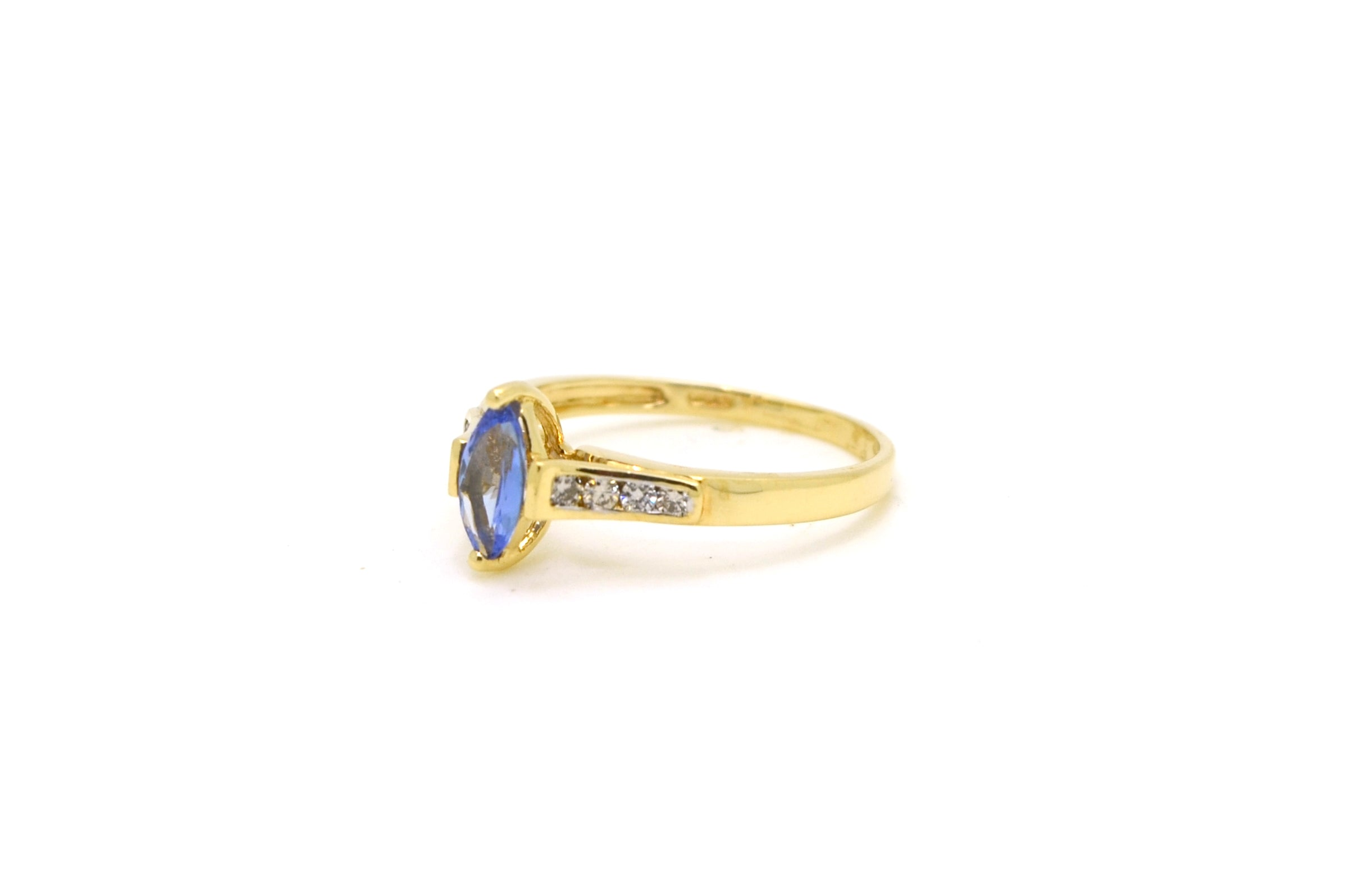 14k Yellow Gold Marquise Tanzanite & Diamond Ring - .50 ct. total - Size 7