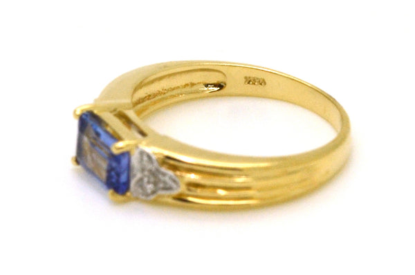 14k Yellow Gold Emerald Tanzanite & Diamond Ring - 1.03 ct. total - Size 6.75