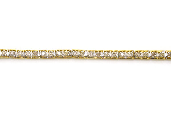 Vintage 10k Yellow Gold Round Diamond Line Bracelet - 1.50 ct. total - 7.25 in.