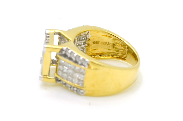 14k Yellow Gold Invisible Cluster Diamond Cocktail Ring - 2.00 ct. tw - Size 7