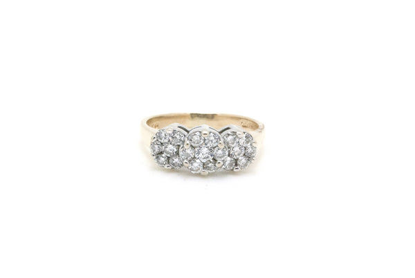 14k Yellow & White Gold Round Diamond 3-Stone Cluster Ring - .75 ct. tw - Size 8