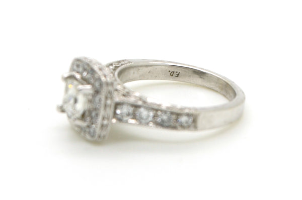 14k White Gold Princess Diamond Engagement Halo Ring - .50 ct. total - Size 4.5
