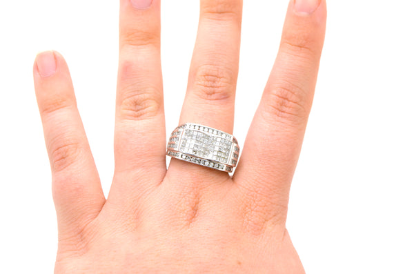 14k White Gold Diamond Cocktail Cluster Ring - 1.20 ct. total - Size 10.5