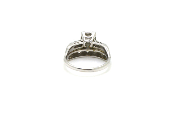 Vintage 14k White Gold Diamond Engagement/Wedding Ring - .75 ct. tw - Size 6.5