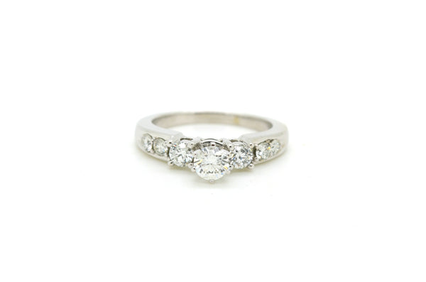 14k White Gold Round Brilliant Diamond Engagement Ring - 1.10 ct. total - Size 8