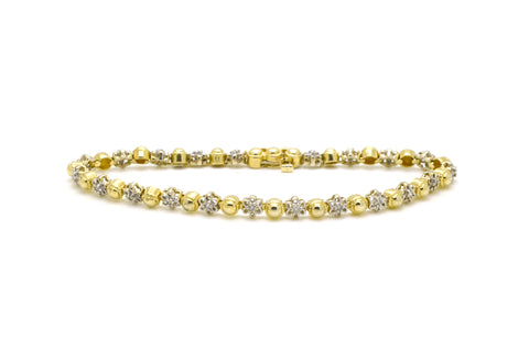 14k White & Yellow Gold Diamond Flower Bracelet - .10 ct. total - 7.5 inches