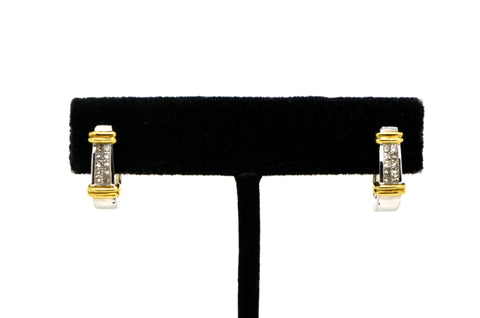 14k White & Yellow Gold Princess Diamond Huggie Hoop Earrings - 0.25 ct. total
