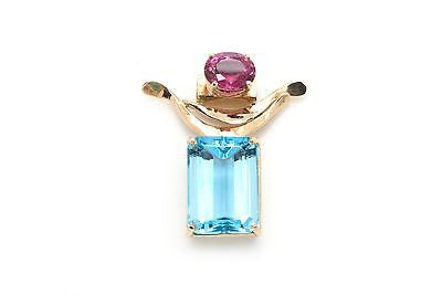 Vicki Thaler 14k Yellow Gold Statement Pendant with Blue and Pink Glass Stones