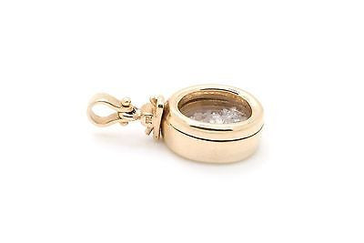 14k Yellow Gold Glass Locket Pendant Filled with Diamonds - about 1.50 ct. total